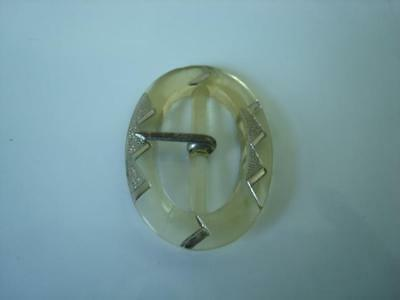 Vintage Pale Yellow Clear Glass Buckle With Silver Luster 1 1/4 x 1 5/8 In.