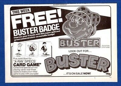 Free BUSTER Badge & Playing Cards, With BUSTER Comic  (1983 Advertisement)