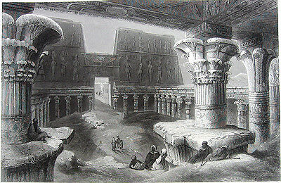 Egypt LUXOR, KARNAK TEMPLE COMPLEX Ruins Amun Re ~ Old 1882 Art Print Engraving