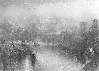 ANCIENT ROME Tiber RIVER Temples ~ 1862 Turner Architecture Art Print Engraving