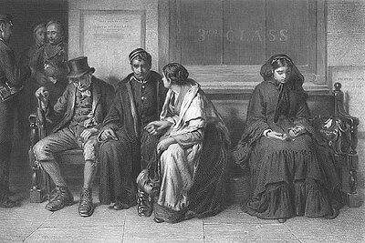 YOUNG SOLDIER LEAVES WIFE FOR WAR AT TRAIN STATION, Old 1879 Art Print Engraving