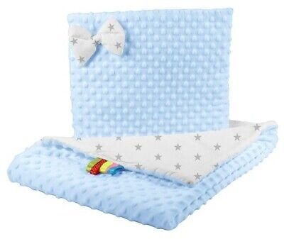 Double sides bedding cot crib cotton / minky blue