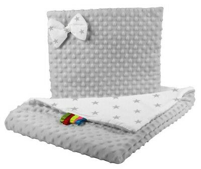 Double sides bedding cot crib cotton / minky gray