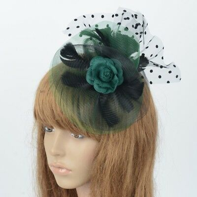 Women Handmade Hair Clip Flower Lace Feathers Accessory Fascinator Wedding Party