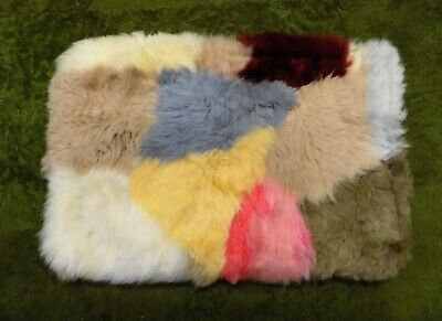 GENUINE Pink Yellow SHEEPSKIN RUG NURSERY, SEAT, PET BEDDING, MAT 51 x 33cm