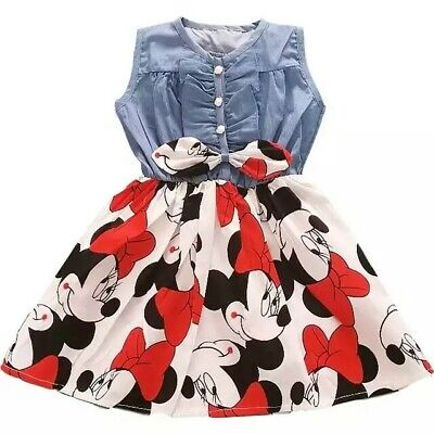 Abito Bambina 3-7 anni minnie mouse cotone estate jeans  bimba girl dress