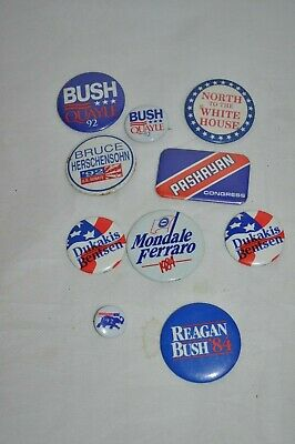 10 piece Republican Campaign Button Pins BUSH REAGAN DUKAKIS FERRARO PASHAYAN ++