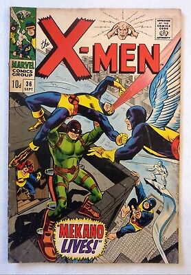 X-Men 36 First Series Silver Age 1967 VG-/VG/VG+ Condition Mekano Marvel Comics