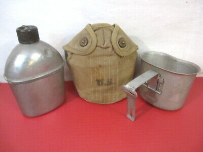 WWII US Army M1910 Dismounted Canteen, Cup & Early Khaki Cover Dated 1944 & 1945