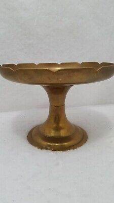 Vintage 1950's Solid Brass LOTUS / Cake Plate / Pedestal Dish Made in R.O.K.