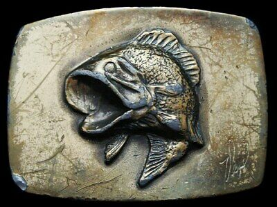 Kc31110 Vintage 1979 Great American **Large Mouth Bass** By Artist Belt Buckle