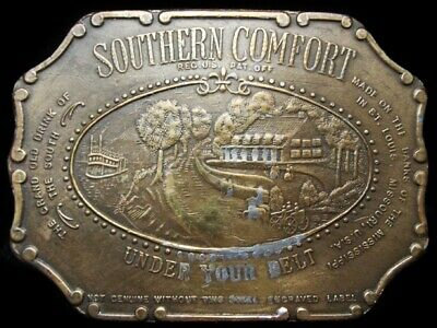 LH13143 NICE VINTAGE 1970s **SOUTHERN COMFORT** UNDER YOUR BELT BOOZE BUCKLE