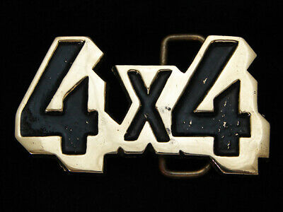 OH01104 VINTAGE 1970s CUT-OUT **4X4** OFF ROAD SOLID BRASS BARON BELT BUCKLE