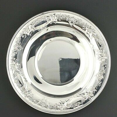 """Gorham Sandwich Plate Sterling Silver 10"""" Round Floral Repousse Serving 1024 9"""