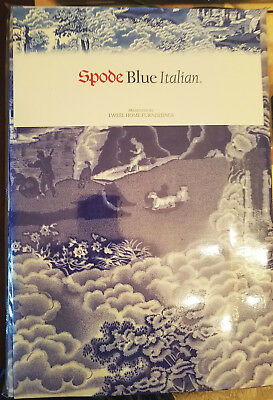 New NIP SPODE Blue Italian Fabric Tablecloth 52 x 70 Rectangular