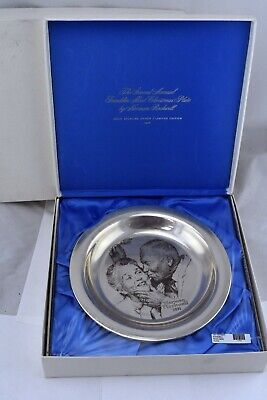 1971 Franklin Mint Norman Rockwell Christmas Plate Sterling Under the Mistletoe