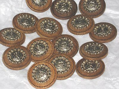 CHANEL 12 BUTTONS  WOODSY BROWN ,  matte gold   CC LOGO 24 MM  NEW LOT 12 DALLAS