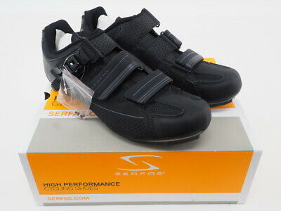New Serfas Mens Leadout Buckle Road Cycling Shoes, Size 10.5 US, Black