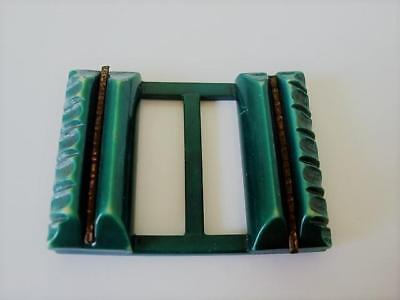 Vintage Art Deco Teal Celluloid Slide Buckle Brass Tone Insets 1 3/4 x 2 3/8 In.
