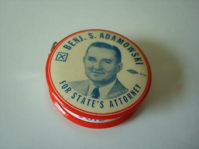 1956 Chicago Cook County IL Political Celluloid Tape Measure Adamowski Kucharski