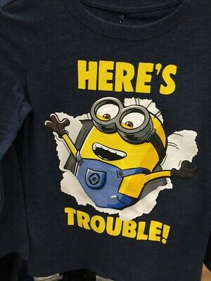 Despicable Me Minions Boys Here's Trouble t shirt top long sleeve New with tags