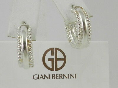 7321e72a3 GIANI BERNINI THIN Textured Endless Hoop Earrings in Sterling Silver ...