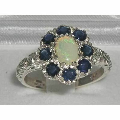 Solid English Sterling Silver Ladies Large Opal & Sapphire Art Nouveau  Ring