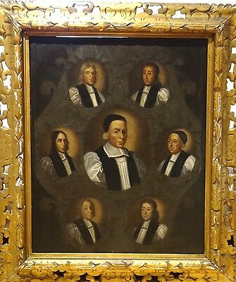Large 17th Century English Portrait The Seven Bishops Church Of England Painting