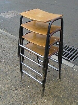 4 Vintage Tubular Steel Framed Stacking School Lab Stools     Free Uk Postage