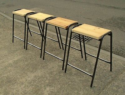 4 Vintage Pine Top Steel Framed Stacking School Lab Stools     Free Uk Postage