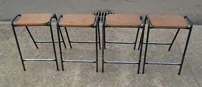 4 Vintage Oak Top Steel Framed Stacking School Lab Stools     Free Uk Postage
