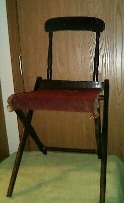 Antique Wood and Carpet Folding Chair for Covered Wagon Use