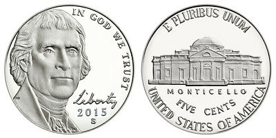 2015 S Gem Bu Proof Jefferson Nickel 5 Cent Brilliant Uncirculated Us Coin Pf