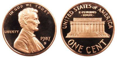 1987 S GEM BU PROOF Lincoln Memorial BRILLIANT UNCIRCULATED PENNY US COIN PF