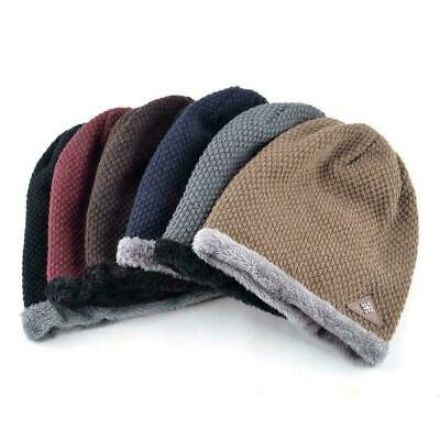 Winter Men Wool Cuffed Beanie Hat Warm Knit Hats Skull Soft Thick Cap Lining New