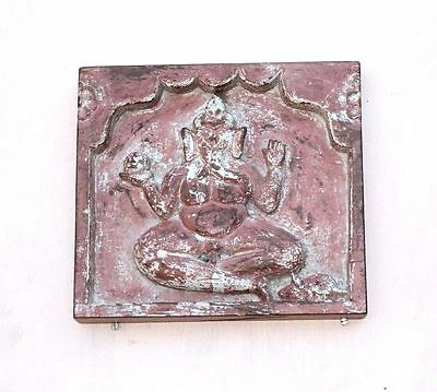 1900 Old Vintage Real Antique Rare Wooden Ganesha Wall Panel Collectible PE-33