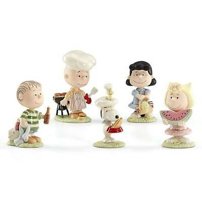 Lenox Peanuts Summer Barbecue Party Figurines 5 PC Charlie Brown Snoopy Lucy BBQ
