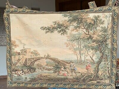 Antique French Tapestry - Aubusson Style 90 By 112 Cm