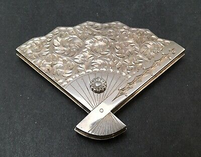 Lovely Japanese Meiji - Taisho Sterling Silver Powder Box / Compact