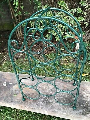 Green Metal Wire  Designer  Stackable  9 Bottle Wine  Rack