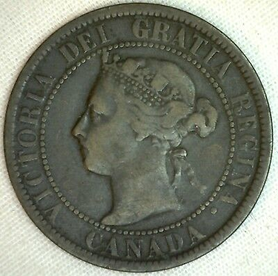 1899 Copper Canadian Large Cent Coin 1-Cent Canada  K3