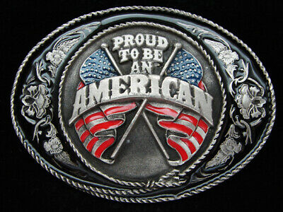 Oj03132 Vintage 1991 **I'm Proud To Be American** Patriotic Siskiyou Belt Buckle