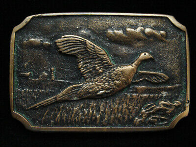 Oi09131 Vintage 1978 **Flying Pheasant** Commemorative Solid Brass Bts Buckle