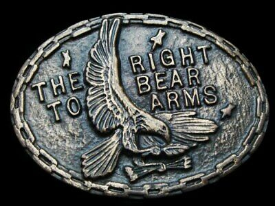 KH09129 NICE VINTAGE 1970s ***THE RIGHT TO BEAR ARMS*** BRASSTONE BELT BUCKLE
