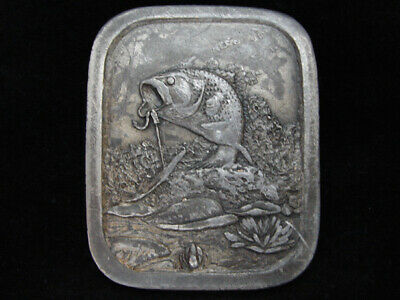 Of11122 Vintage 1976 **Large Mouth Bass Hooked On Line** Fishing Pewter Buckle