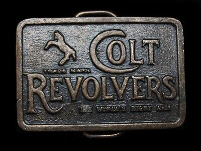 LG17120 VINTAGE 1970s TRADE MARK **COLT REVOLVERS** WORLDS RIGHT ARM BELT BUCKLE
