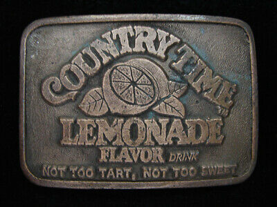 PA09112 VINTAGE 1970s *COUNTRY TIME LEMONADE FLAVOR DRINK* SODA FOUNTAIN BUCKLE