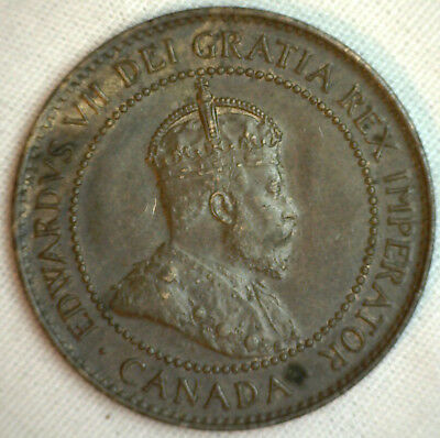 1905 Copper Canadian Large Cent Coin 1-Cent Canada AU #5