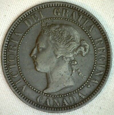 1901 Copper Canadian Large Cent Coin 1-Cent Canada VF K5