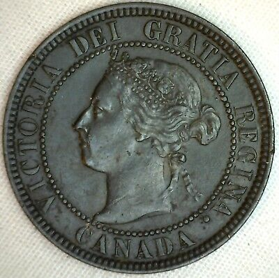 1901 Copper Canadian Large Cent Coin 1-Cent Canada XF K9